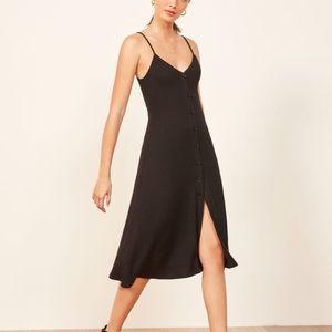 🌟new Reformation Casey Black ribbed dress